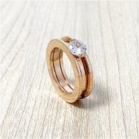 Sleek Minimalist Zircon Gold Couple Gear Ring Anello per le donne Moda Gioielli classici per le donne Regali da sposa Regalo di fidanzamento con scatola con timbro