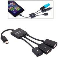 Tip C 3 in 1 OTG Hub USB 3.1 Tip-C Mikro USB 2.0 Güç Şarj Host OTG Hub Kablosu Adaptörü