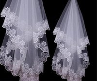 White Ivory Lace Applique Edge One Layer 1.5 M Long Wedding Veil Bridal Veil Bridal Accessories Cheap