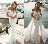 Mermaid Lace Wedding Dresses 2022 robe de mariée Detachable Train Off The Shoulder beach Wedding Gowns Summer Dresses