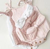 الصيف جديد طفل رضيع القطن الكتان داخلية الاطفال أكمام حزام حزام + عقال 2 قطع ملابس بحر A5869
