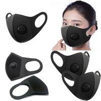 Fashion Designer Maschera viso con valvole respiratorie filtro aria lavabile riutilizzabile maschere adulti spugna nera protettiva viso maschera 1686 T2