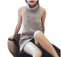 2021 popular European and American sexy backless high neck sweater Pullover sleeveless Knitted Top bottomed blouse women
