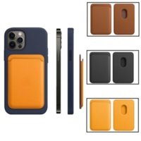 Magsafe 카드 가방 마그네틱 패션 지갑 홀더 케이스 아이폰 13 프로 최대 12 미니 정품 가죽 파우치 커버 원래 공식