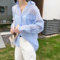 Women's Blouses & Shirts DEAT 2021 Spring Summer Fashion Casual Long Sleeve Irregular Pockets Striped Turn-down Collar Patchwork Shirt Women
