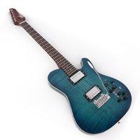 사일런트 여행 일렉트릭 기타 휴대용 효과에 내장 블루 불꽃 메이플 탑