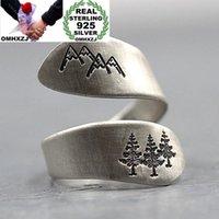 Cluster Rings Omhxzj Großhandel RR1188 Europäische Mode Feine Frau Mädchen Party Geburtstag Hochzeit Geschenk Berg Wald925 Sterling Silber Ring
