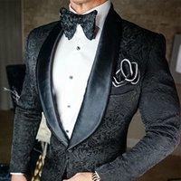 2022 Formal Tuxedos Black 2 Piece Men Slim Fit Jacquard Suits Shawl Lapel Groom Tuxedo Prom Wedding Suit For Party Dress