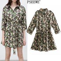 Pseewe Bahar 2021 Kamuflaj Baskı Mini Elbise Kadın Moda Kemer Kısa Elbiseler Kadın Rahat Cepler Düğme Yukarı Gömlek Elbise