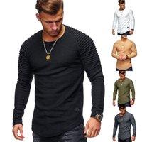 メンズTシャツソリッドカラースリーブプリーツパッチの詳細ロングTシャツメンズ春カジュアルトップスプルオーバーファッションスリム基本