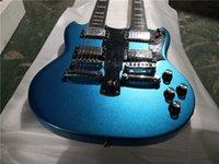 Ücretsiz Kargo Çift Boyun Metal Mavi Elektro Gitar 6 + 12 Dizeleri, Krom Donanım, HH Pickups, Gülağacı Klavye, Ücretsiz Teslimat