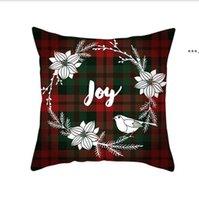 Cuscini di Natale Coperture Red Plaid Elk Throw Pillow Case Quadrato Divano Fodera Plaid Plaid Stampa Couch Copertura Cuscino Di Natale HHE8649