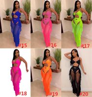 Women's 2 Piece Pants Fluorescence Color Fashion Printed Swimsuit Mesh Hollow Out Spaghetti Straps Bodysuit Swimwear