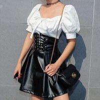 Faux Latex PU-Lederrock Frauen Reißverschluss Schwarz Hohe Taille Falten Röcke Damen Lace Up A Line Sexy Minirock Weiblich