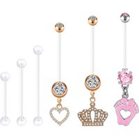 Pregnancy Button Rings Long Bar Sport Maternity Plastic Bioplast Silicone Flexible Navel Belly Ring Piercing Retainer