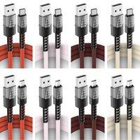 Zinklegierung geflochtene Typ C-Micro-USB-Kabel 1m 2m 3M-Kurzlack-Nylonkabel für Samsung S8 S10 S20 S21 Anmerkung 20 LG Huawei Android-Telefon-PC