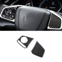For Honda Civic 10th 2016-2021 Carbon Fiber Auto Car Accessories Steering Wheel Button Cover Frame Sticker Trim Interior Decoration