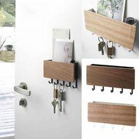 Hooks & Rails Wall-hung Type Wooden Decorative Wall Shelf Sundries Storage Box Prateleira Hanger Organizer Key Rack Wood