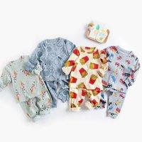 Milancel Summer Baby Pajamas набор мультфильм с длинным рукавом o шеи и брюки спать 210908