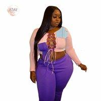 2021 Neue Plus Größe 2 Stück Set Hosen Sets Frauen Bandage Patchwork Crop Top Sweatpants Trainingsanzug Club Outfits Großhandel Dropshipping XMF1