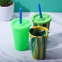 실리콘 물 텀블러 실리콘 커피 잔 17oz 고무 물 컵 BPA 무료 고무 컵 식품 학년 안전 물 병 뚜껑 짚