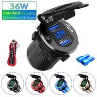 QC3.0 12V 24V 36W Motorcycle Car Lighter Socket Plug LED Display Metal Switch Waterproof USB Charger socket For