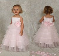 Low Price Ball Gown Floor Length Pink Tiered Tulle Flower Girls' Dresses With Straps Handmade Flowers Lovely First Communicate