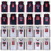MENS 1992 Equipo USA Baloncesto Jersey Larry Bird 7 Michael 9 Patrick Ewing 6 Scottie Pippen Clyde Drexler John Stockton Malone Johnson Charles Barkley