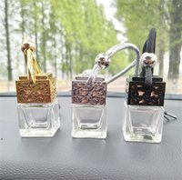 Cube Hollow Car Perfume Bottle Rearview Ornament Hanging Air Freshener For Essential Oils Fragrance Empty Glass Bottle Pendant DWA7488