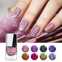 Lazer Glitter Sequins Oje Çevre Koruma Renkli Sihirli Renk Holografik Gelpolish Hiçbir UV Jel Lamba Bakım Altın