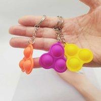 Tik tok Push poppers Fidget pops toy Simple Keychain Key Ring Finger bubble Popper Sensory Squeeze Toys pendants Squeezy Vent Balls Anti