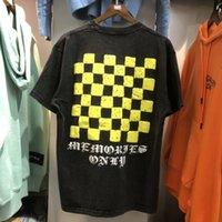 2021 새로운 2021ss 씻어 오래된 빈티지 Askyurself T 셔츠 남성 여성 최고의 품질의 Orsence 노란색 바둑판 탑 티 rh5q