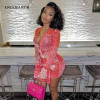 Anjamanor rosa Bandana Mesh BodOCN Dress Abiti da club per le donne a maniche lunghe a maniche lunghe con scollo a V Stringa String Mini Dress D85-Be12