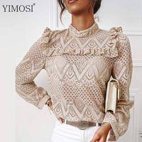 Women's Blouses & Shirts 2021 Autumn Elegant Lace Ruffles White Blouse Women Long Sleeve O Neck Slim Tops Korean Hollow Out Office Shirt