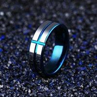 Oumart masculino azul tungstênio anel de aço Cruz modelo homens jewellry acessórios presentes para anéis de mens banda inoxidável