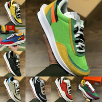 새로운 망 운동화 스포츠 신발 패션 LDV 와플 여성 화이트 블랙 나일론 블루 그린 멀티 소나무 녹색 와플 레이서 야외 스니커즈 F66