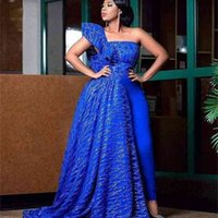 Royal Blue One Shoulder Lace Evening Dress for the stylish Nigerian Wedding Guest Prom Gowns robe de soiree