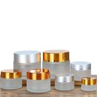 5G 10g Buzlu Şeffaf Amber Cam Kavanoz Krem Şişe Kozmetik Kabı Siyah Gümüş Altın Kapak ve İç Pad