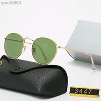 Classic Design Round UV400 Eyewear Metal Bans Gold Frame Bans Glasses Uomo Donna Specchio Lente di vetro Occhiali da sole con scatola