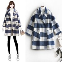 Women's Wool & Blends Spring And Autumn Ladies Woolen Coat Fashionable Temperament Large Size Plaid Coat, Outdoor Leisure Mid-length Windbre