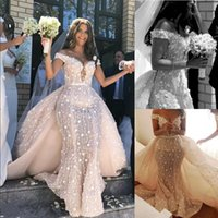 Lace Mermaid Wedding Dress With Detachable Train Sexy Off The Shoulder 3D Floral Bridal Gowns Charming Saudi Arabia Long Robe De