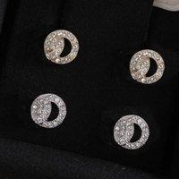 골드 귀걸이 패션 다이아몬드 스터드 귀걸이 레이 아가 여성 파티 웨딩 연인 선물 약혼 보석 신부 상자가있는 우표
