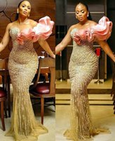 2022 Plus Size Arabic Aso Ebi Luxurious Sparkly Mermaid Prom Dresses Sheer Neck Beaded Stylish Evening Formal Party Second Reception Gowns Dress