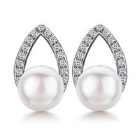 Solid Pure 925 Silver Earrings With 6mm Shell Pearl & Shiny Zircon Dropshipping Tear Drop Jewellery Fine Jewelry