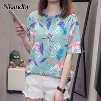 Nkandby flor impressão verão t-shirt para mulher moda casual manga curta senhoras tshirt novo bambu plus size tops básicos 4xl 210315