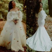 2021 Mermaid Wedding Dresses Bridal Gown with Overskirt Long Poet Sleeves Off the Shoulder Lace Applique Sweep Train Custom Made Plus Size vestidos de novia