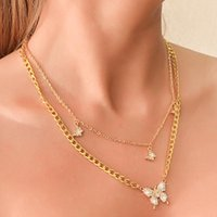 Chains Butterfly Necklace For Women Pendant Neck Chain Golden Stainless Steel Jewelry Wholesale Items Gifts Girl Wedding Party