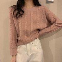 Women's Sweaters 2021 Autumn Winter Women V-neck Long Sleeve Pullovers Minimalist Knitting Elegant Casual Loose Ladies Vintage Tops