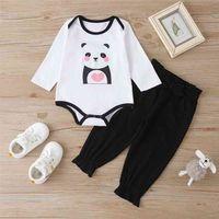 Enfants d'hiver met à manches longues Panneau de dessin animé Panda Panda Noir Pantalons solides Mignon 2pcs Filles Garçons Vêtements 0-2T 210629