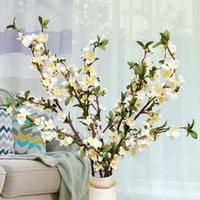 인공 벚꽃 가짜 실크 꽃 긴 복숭아 애플 지점 녹지 나무 줄기 가정 장식을위한 줄기